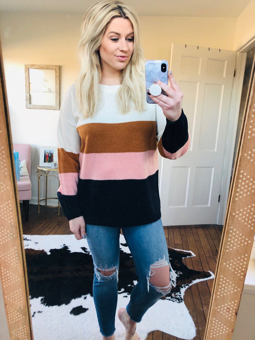 What's The Scoop Navy, Blush, Camel and Ivory Colorblock Curvy Sweater