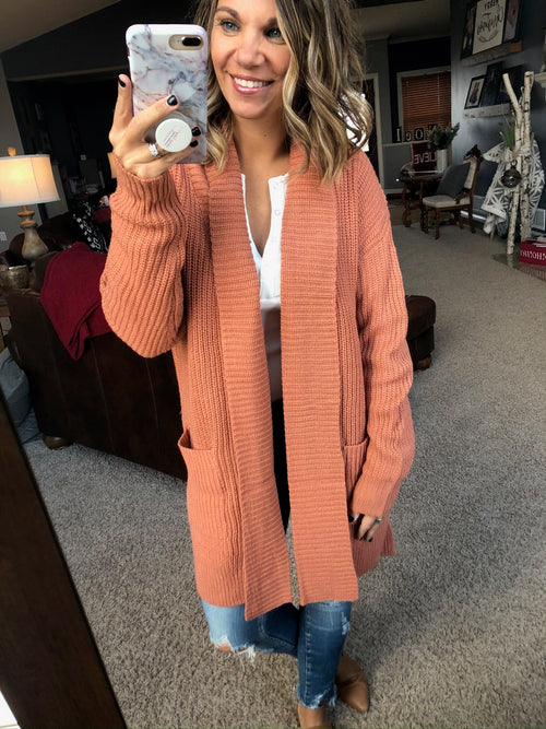 Wake Up The Happiness Rust Open Front Cardigan