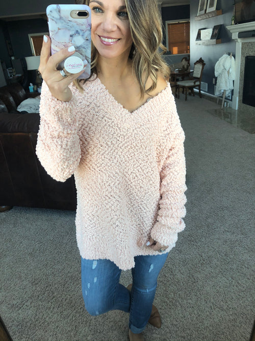 My Best Life V Neck Popcorn Sweater- Cream