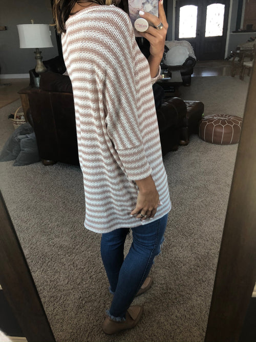 My Girl Forever Ivory and Tan Knit Dolman with 3/4 Sleeves