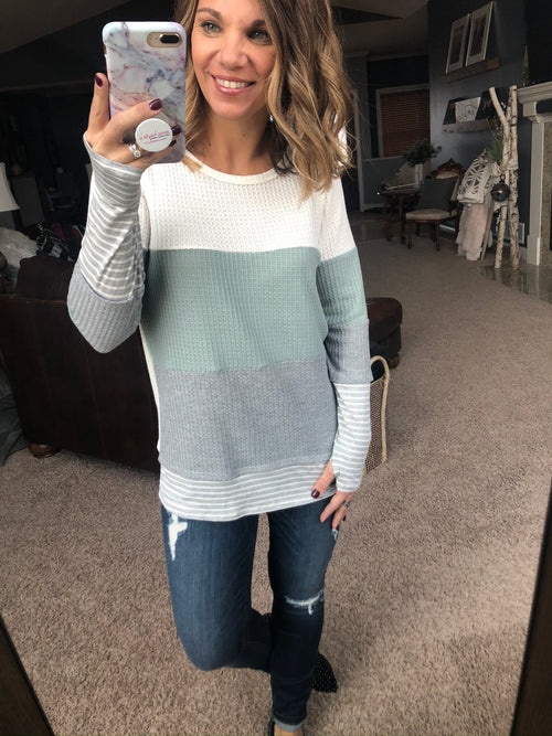 Keep In Touch Colorblock Waffle Long Sleeve with Thumbholes- Mint, Grey, Cream Mix
