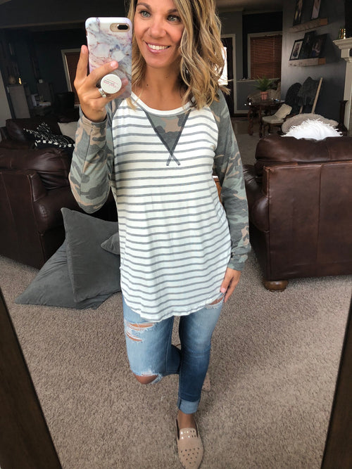 Doin' Fine Grey and Ivory Stripe Long Sleeve with Camo Sleeve and Neck Detail