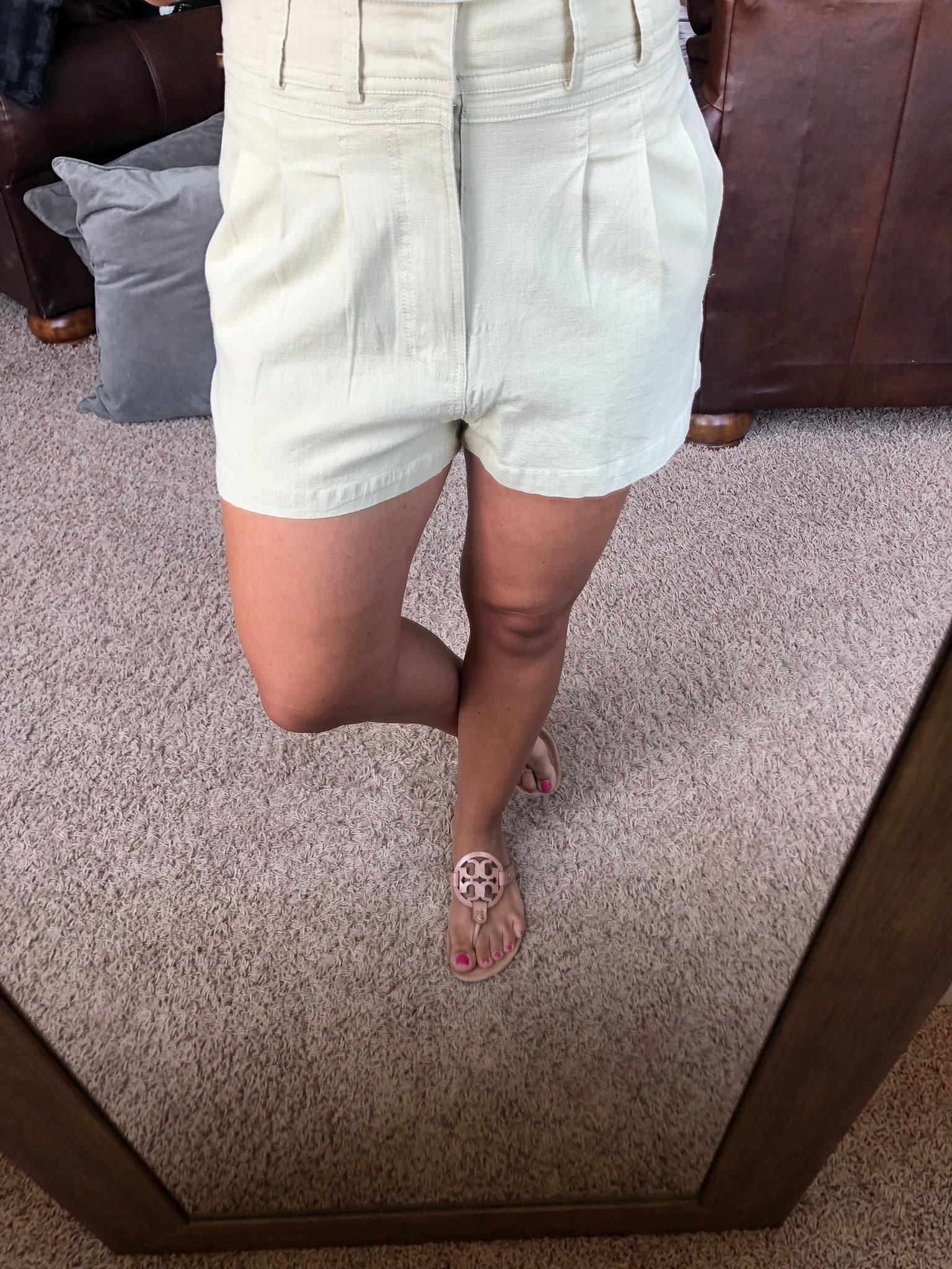Back To Business Khaki Pleated High Rise Shorts