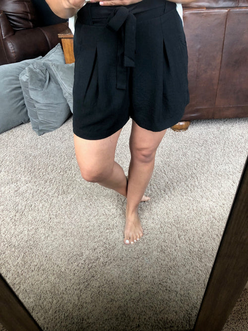 The Brittany Black Day to Night High Waisted Front Tie Shorts