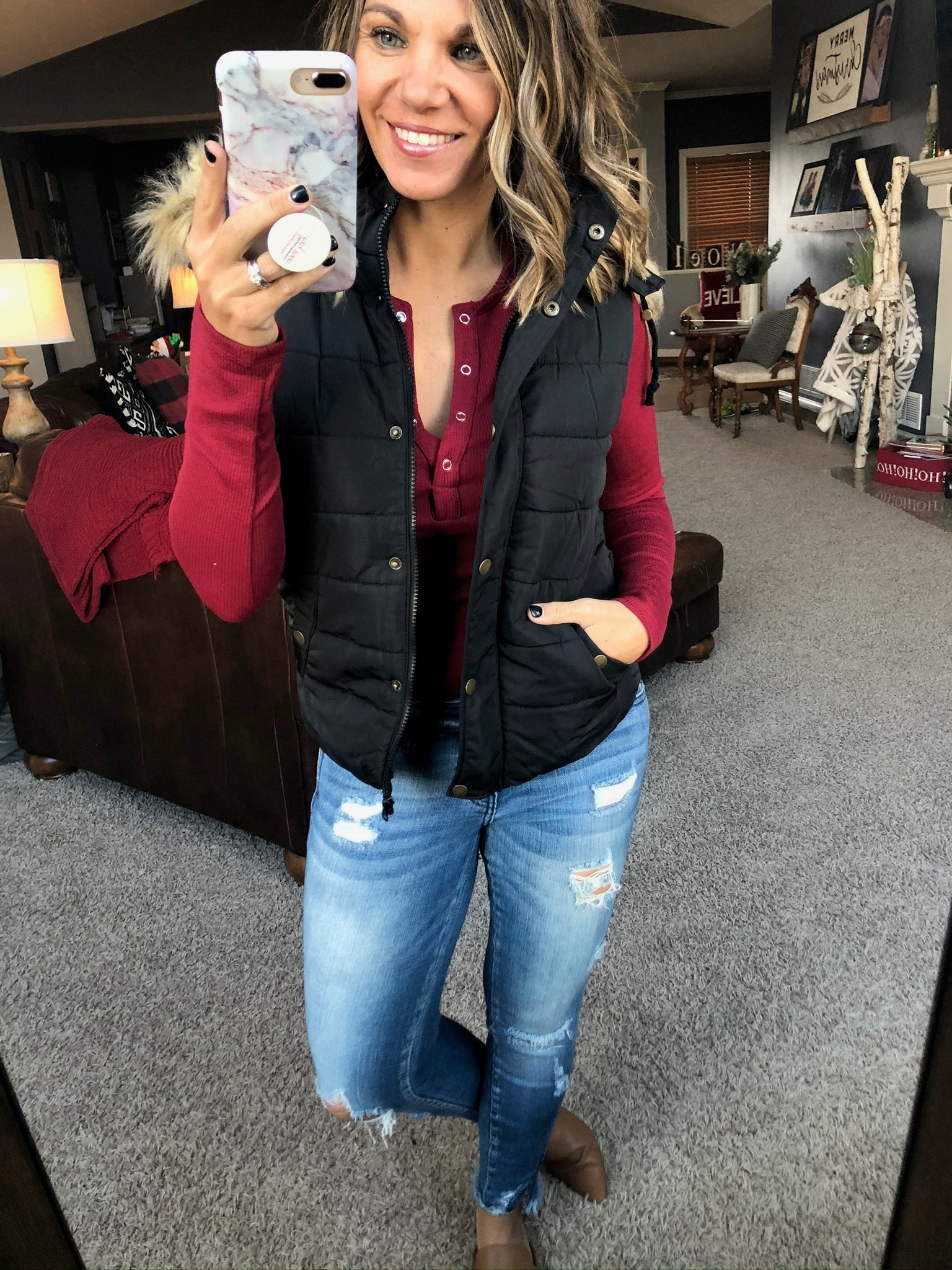 No Stopping Her Black Puffer Vest with Faux Fur Lined Hood