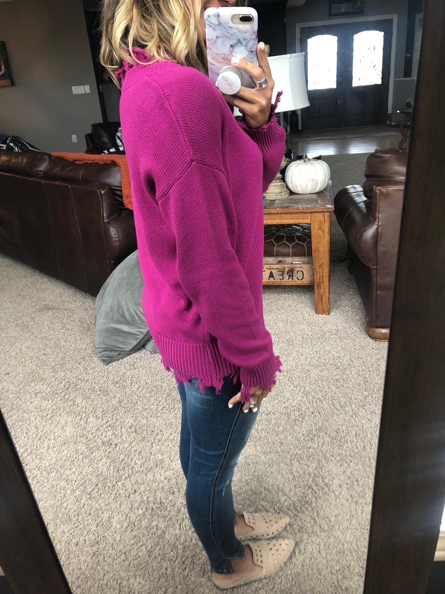 Love You Better Magenta V-Neck Distressed Sweater