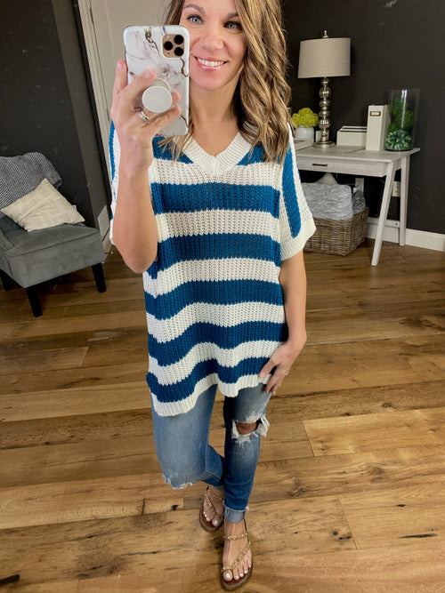 Some Girls Ribbed Short Sleeve V-Neck Stripe Sweater- Multiple Options