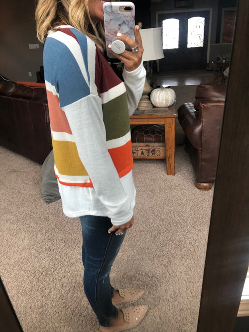 Changing Seasons Colorblock Faux Layered Long Sleeve