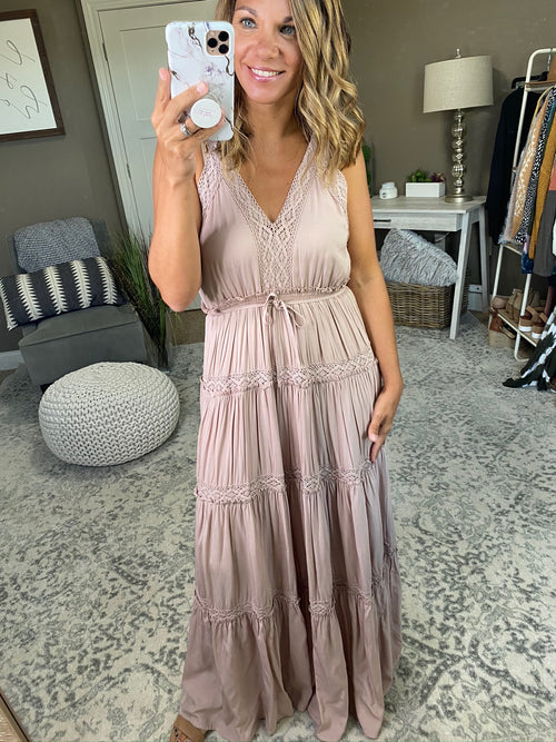 7 Summers Blush Double V-Neck Tiered Boho Maxi Dress with Lace Detail