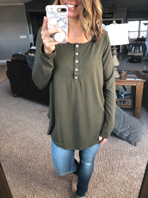 Time after Time 1/2  button long sleeve top - Olive