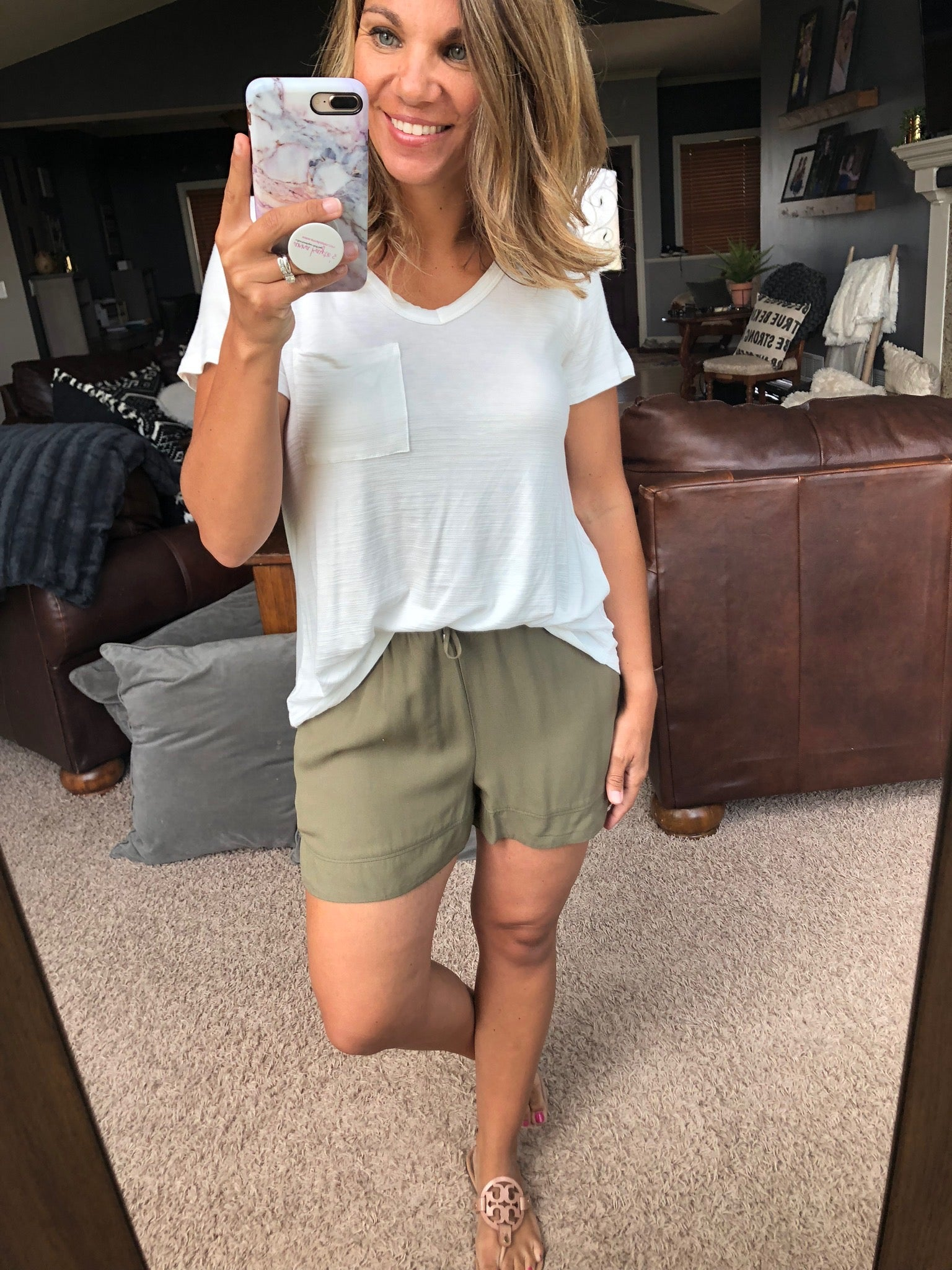 Small Victories Olive Rounded Hem Shorts