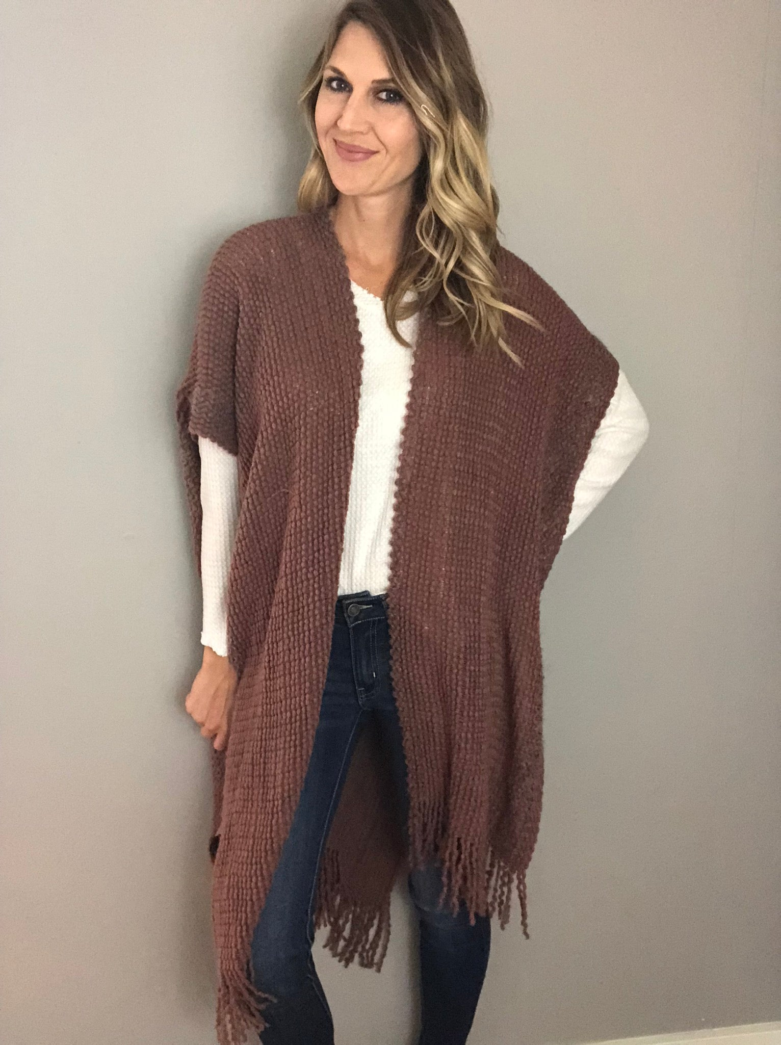 Winter Winds Knit Poncho - Rust
