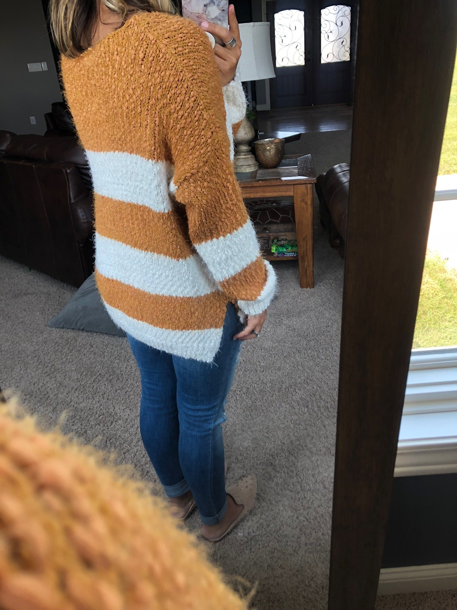 Meet Me Later Mustard and Ivory Striped Heavy Knit V-Neck Sweater