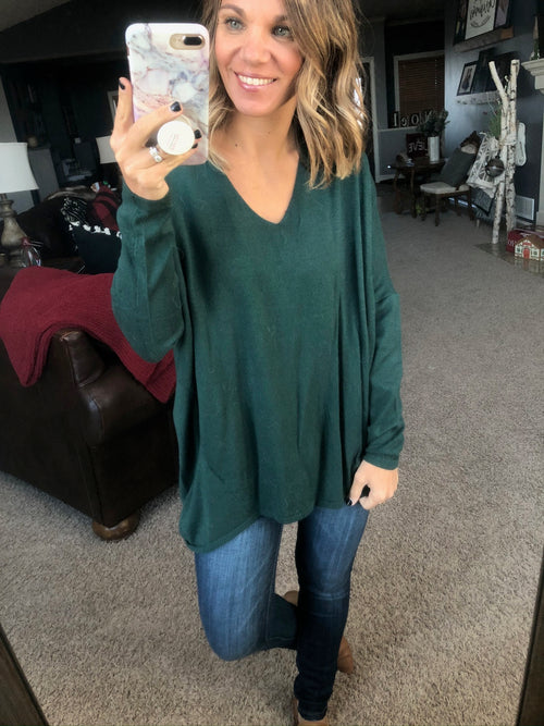 Double Trouble Hunter Green Double V-Neck Sweater