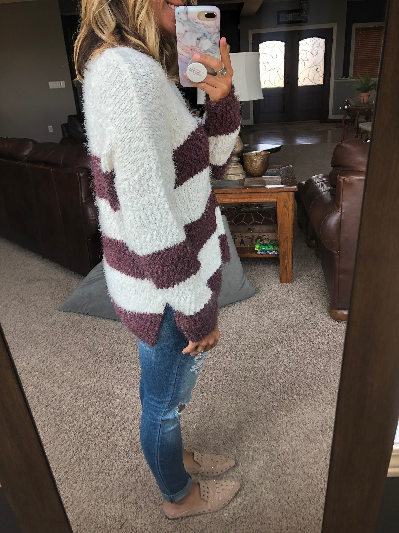 Meet Me Later Wine and Ivory Striped Heavy Knit V-Neck Sweater