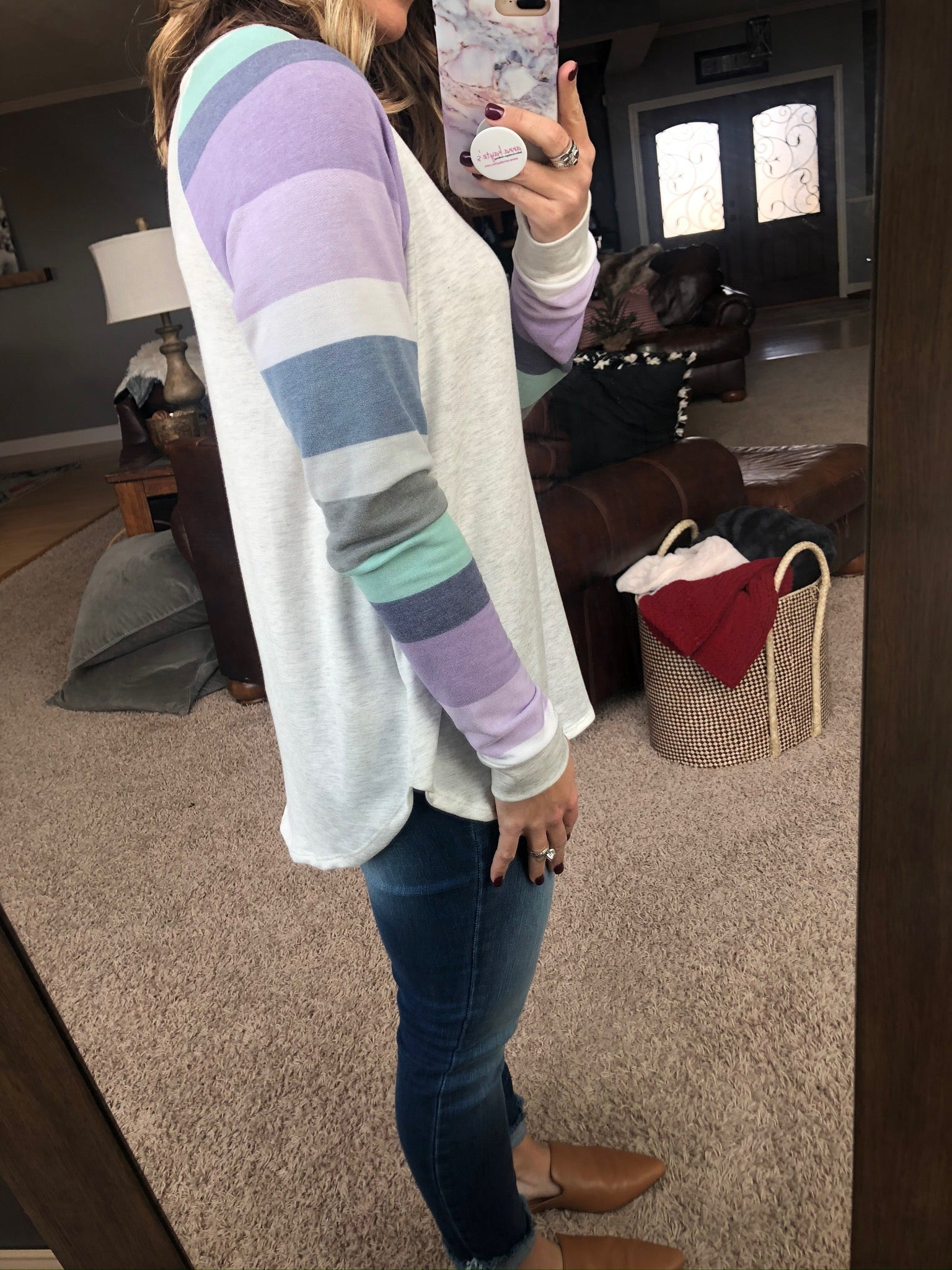Knew You Would Heather Grey with Pastel Purple Mix Stripe Long Sleeve
