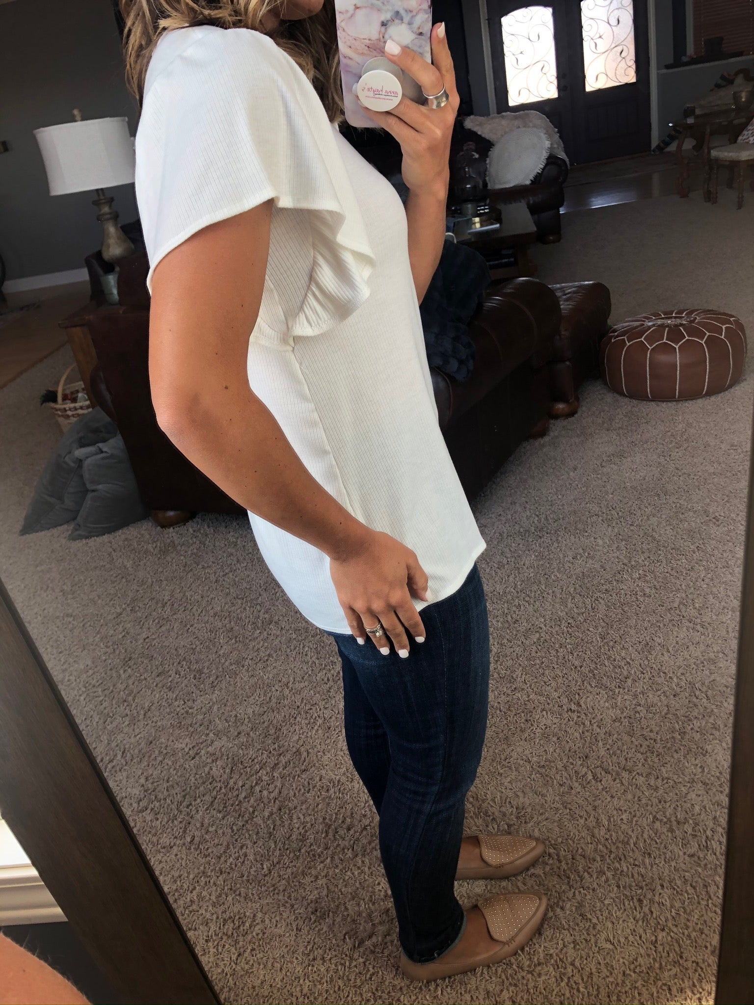 So Worth It Ribbed Tee with Ruffle Sleeve- Ivory
