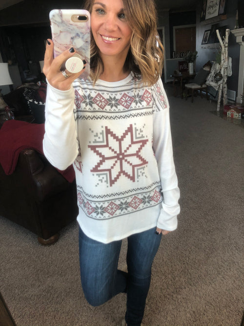 Each One Is Unique Ivory Snowflake Long Sleeve