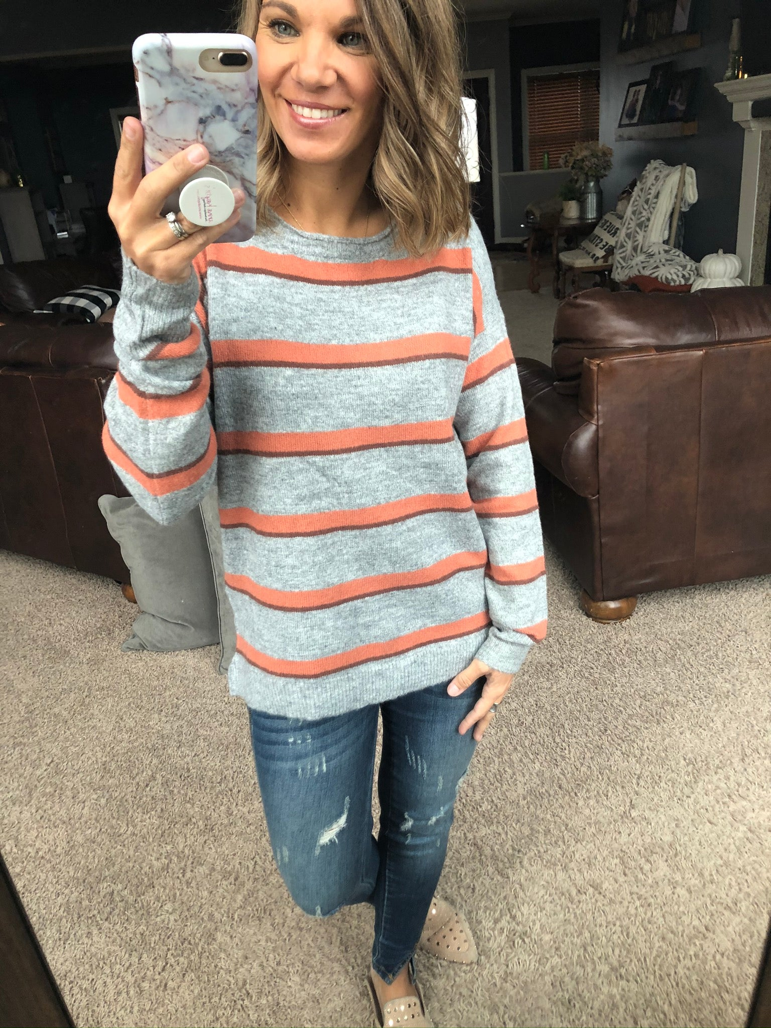 There She Goes Grey Sweater with Orange and Brown Stripes