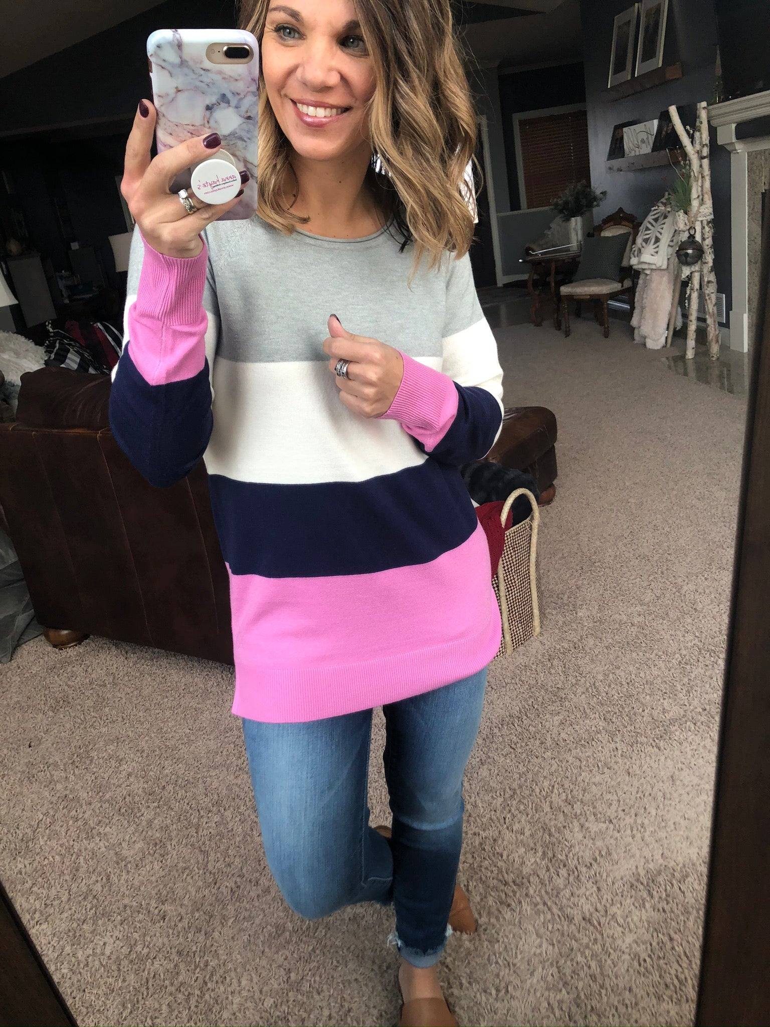 Thinking About You Color Block Sweater- Grey, Ivory, Navy, Pink