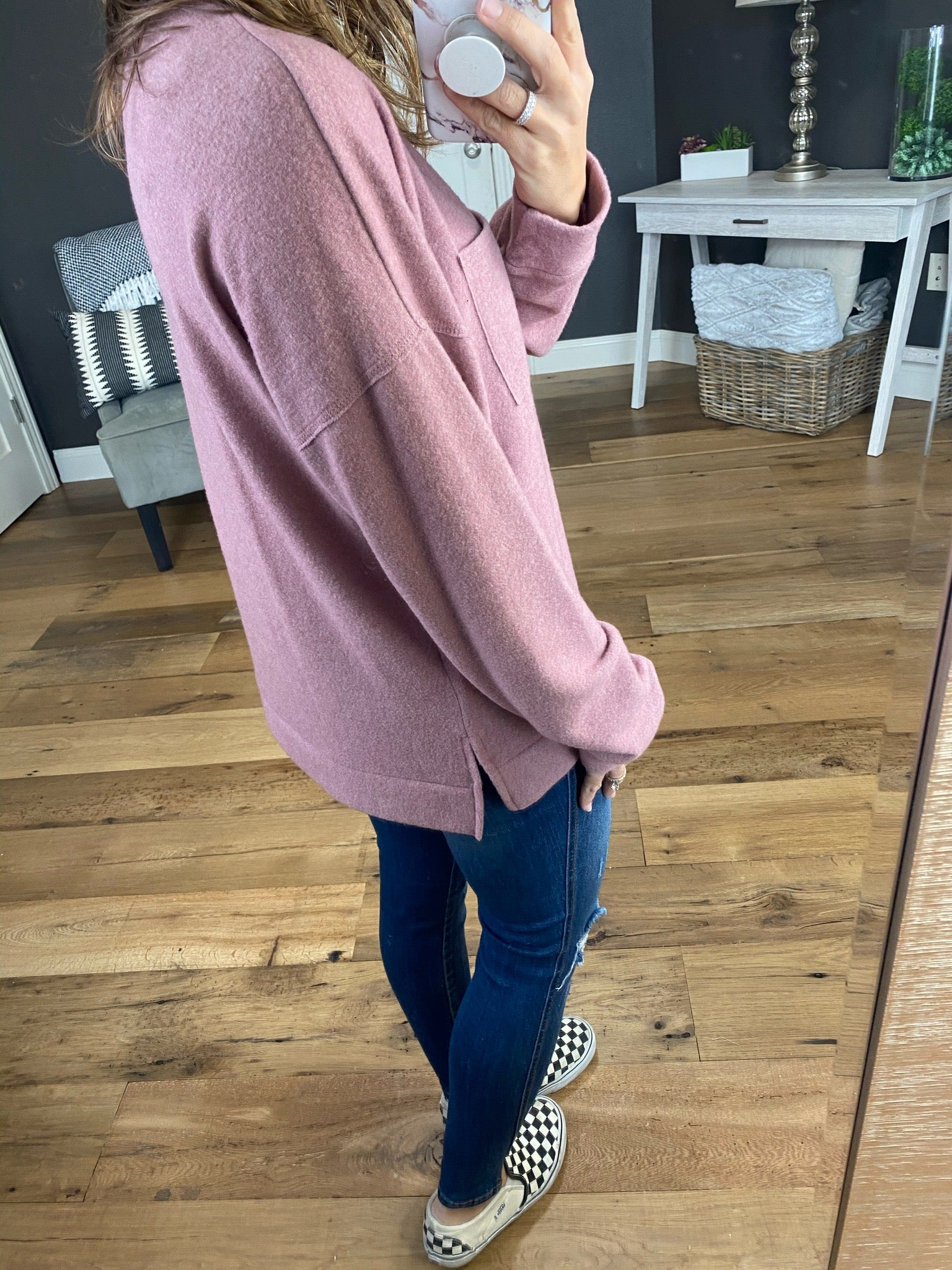 Close Enough Mauve Brushed Fleece Long Sleeve with Pocket