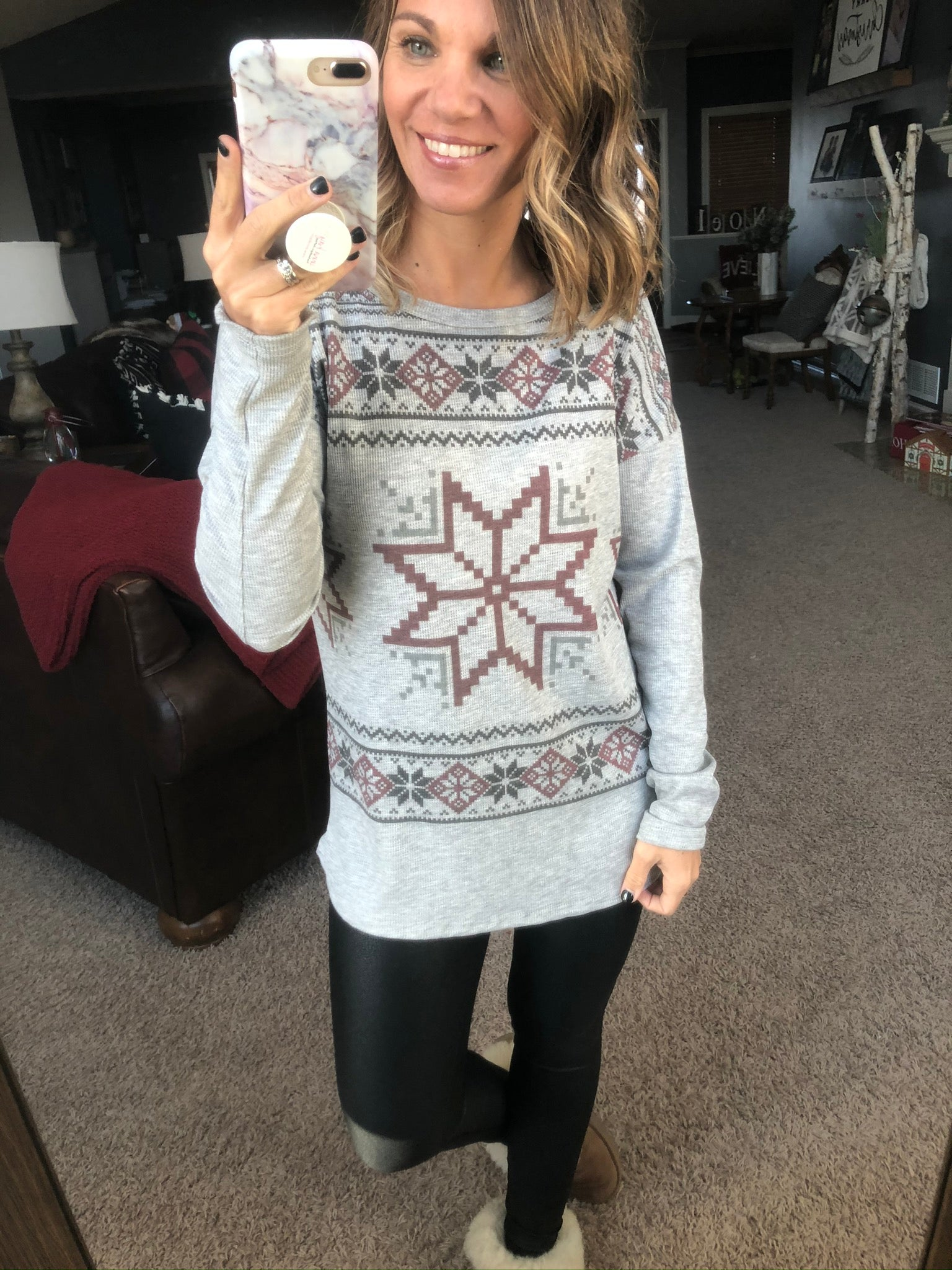 Each One Is Unique Heather Grey Snowflake Long Sleeve