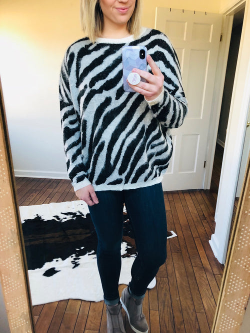 Running Wild Zebra Print Sweater