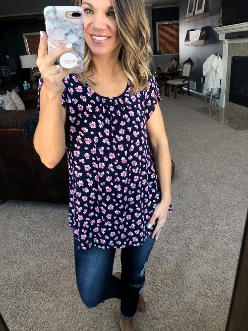 Be The One Navy with Pink Floral Tee Blouse with Pleated Neckline