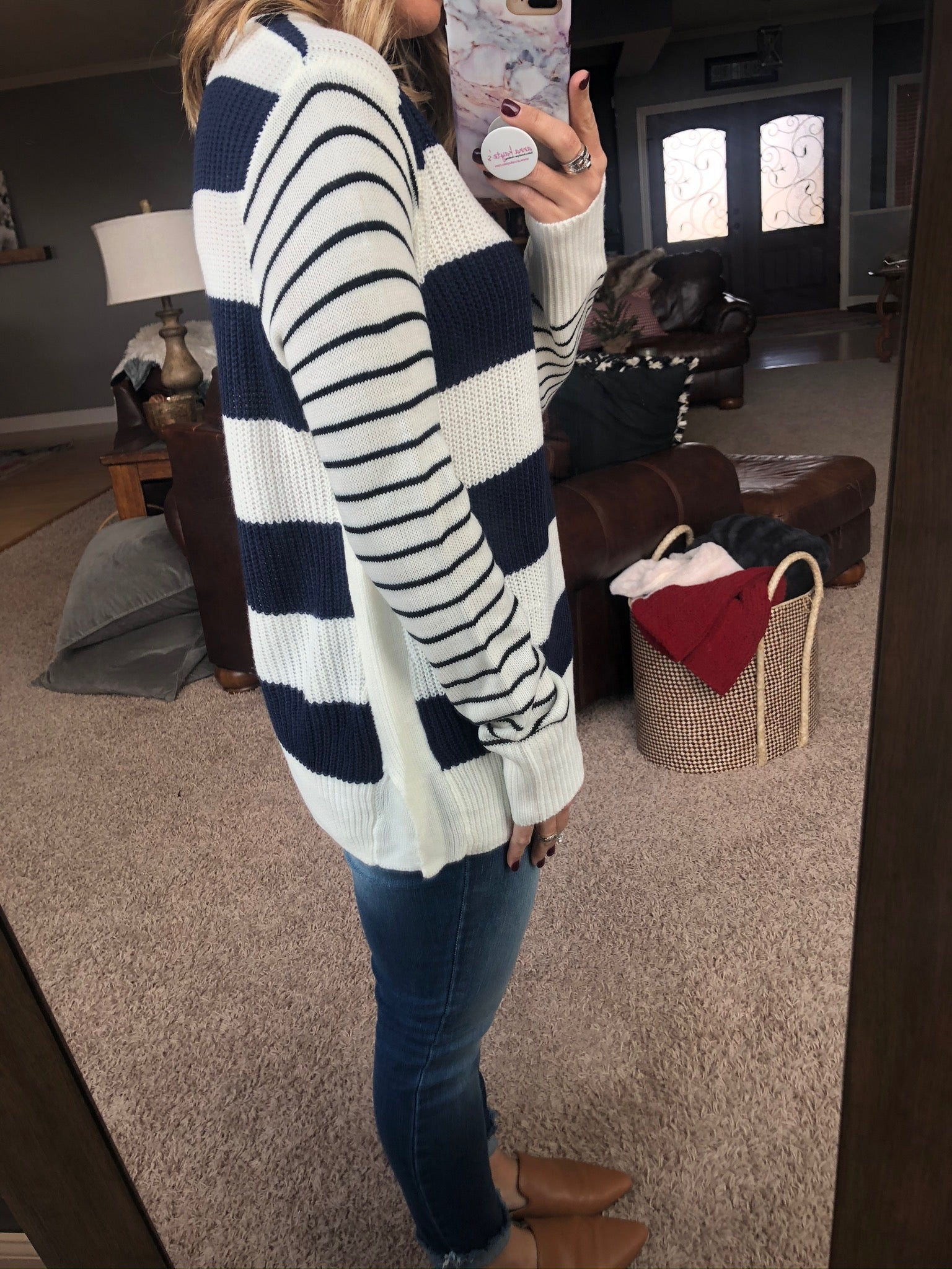 Been Awhile Navy and Ivory Mixed Stripe Crew Neck Knit Sweater