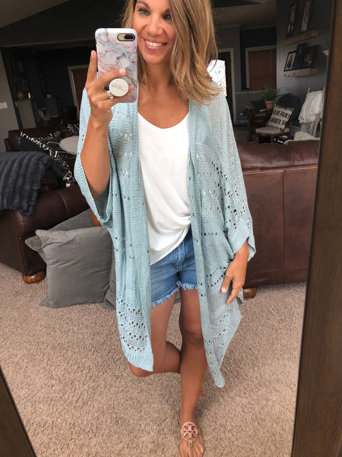 Feel So Close Light Sage Crochet Cardigan with Dolman Sleeve