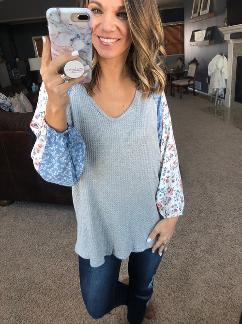 Spring is Blooming Grey Waffle V Neck Mixed Floral Balloon Long Sleeve