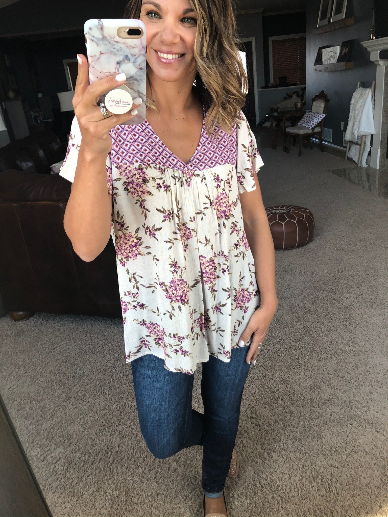 Instant Crush Ivory and Pink Mixed Print Tee Blouse