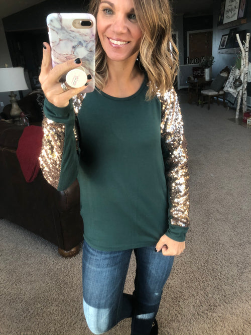 Meant To Shine Hunter Green & Sequin Long Sleeve