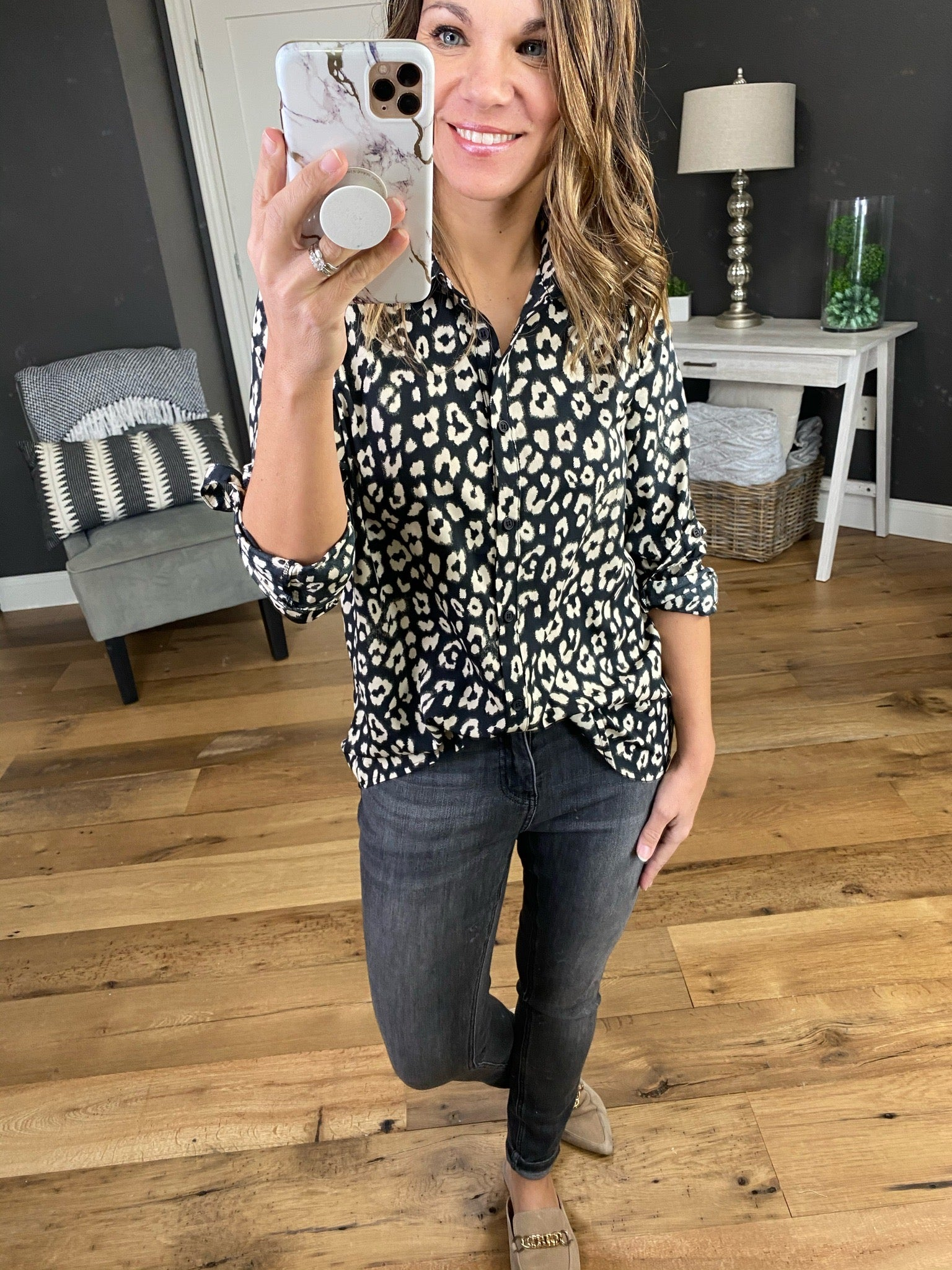 Hall Of Fame Leopard Print Button Up Blouse--Multiple Options
