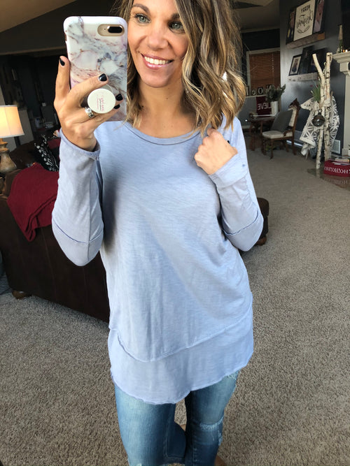 Just Frosted Blue Grey Long Sleeve