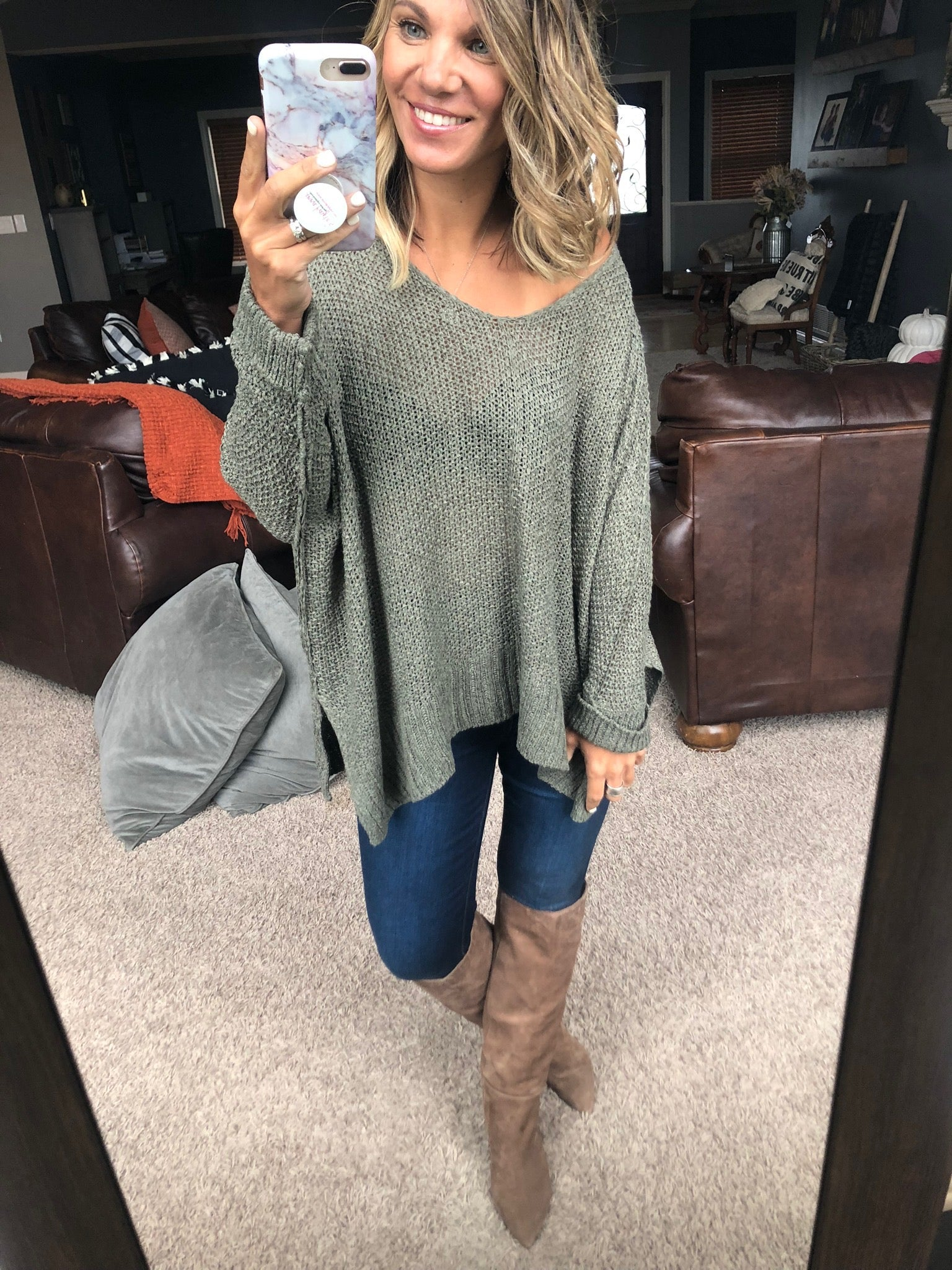 A Million Reasons Why Loose Knit Dolman Sweater- Olive