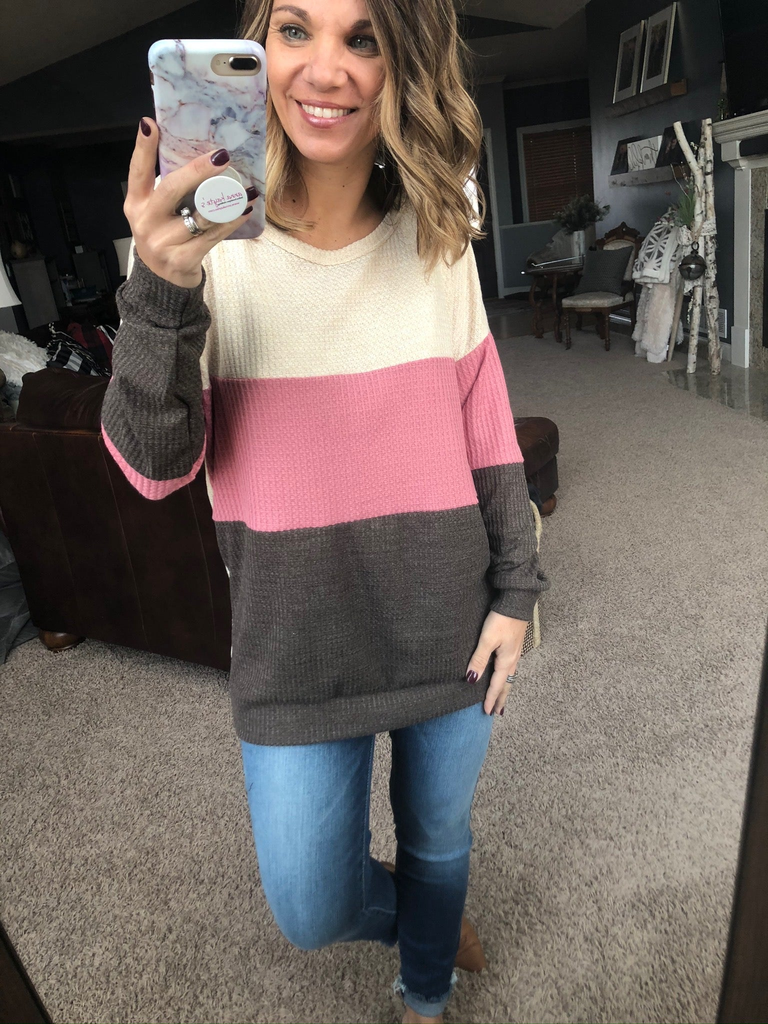 Wait Around Cream, Blush and Cocoa Colorblock Waffle Long Sleeve