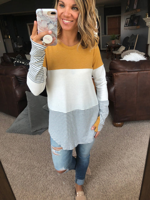 Enjoy The Drive Mustard, White and Stripe Waffle Long Sleeve with Thumbholes