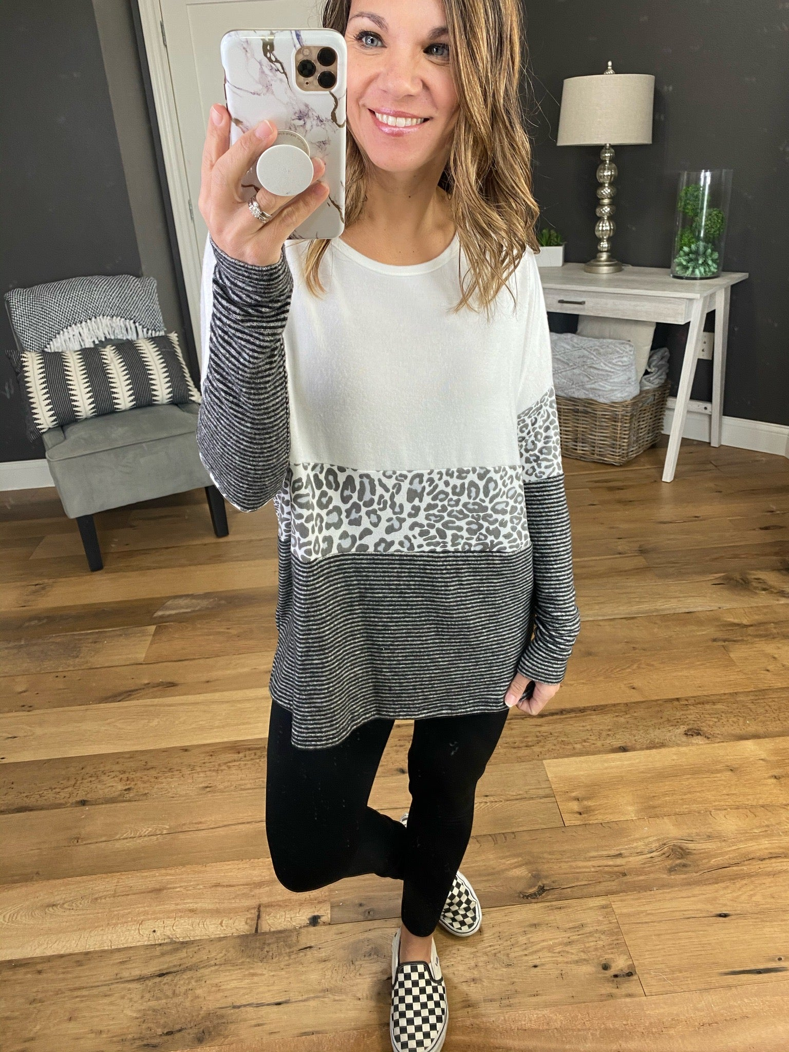 She's Got That White, Charcoal and Leopard Print Colorblock Long Sleeve