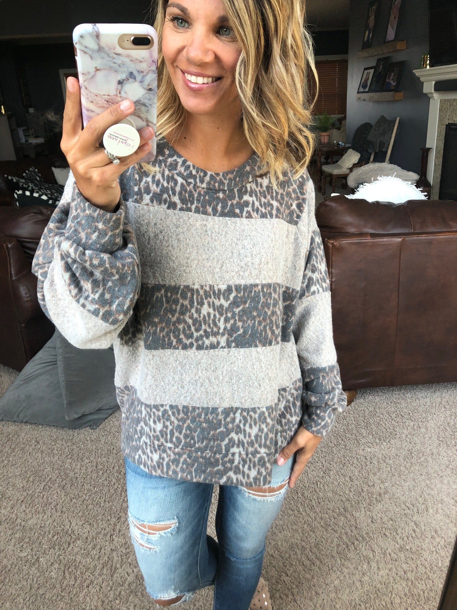 You Stripe Me Wild Oatmeal and Leopard Colorblock Brushed Fleece Long Sleeve