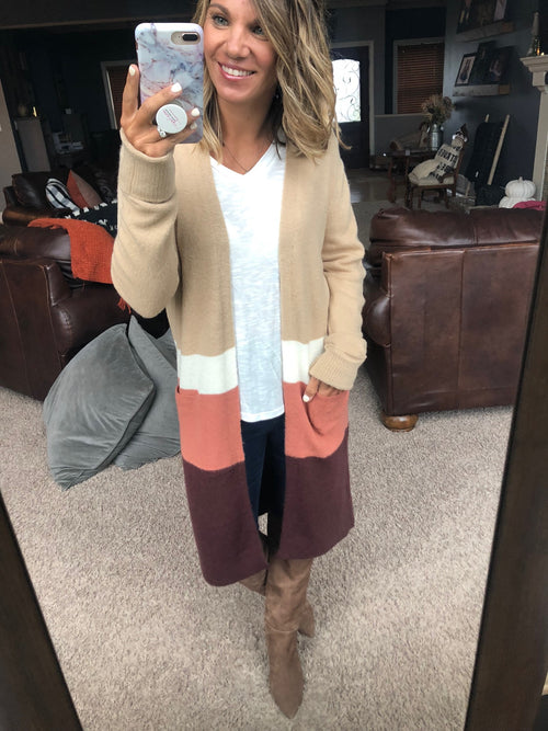 Warm Ways Mix Open Front Colorblock Cardigan