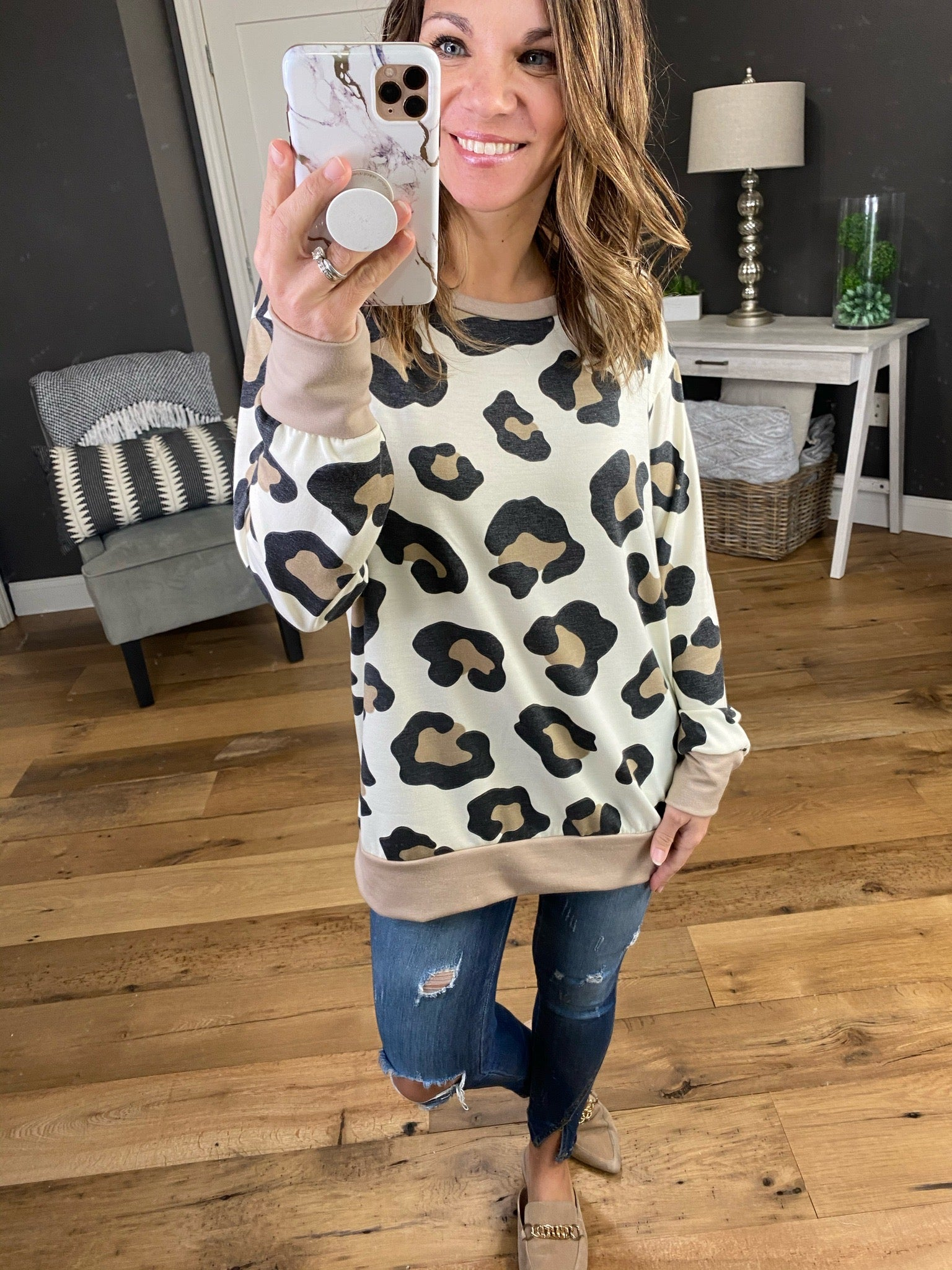 Girl Time Taupe, Black & Cream Leopard Print Long Sleeve with Banded Hem