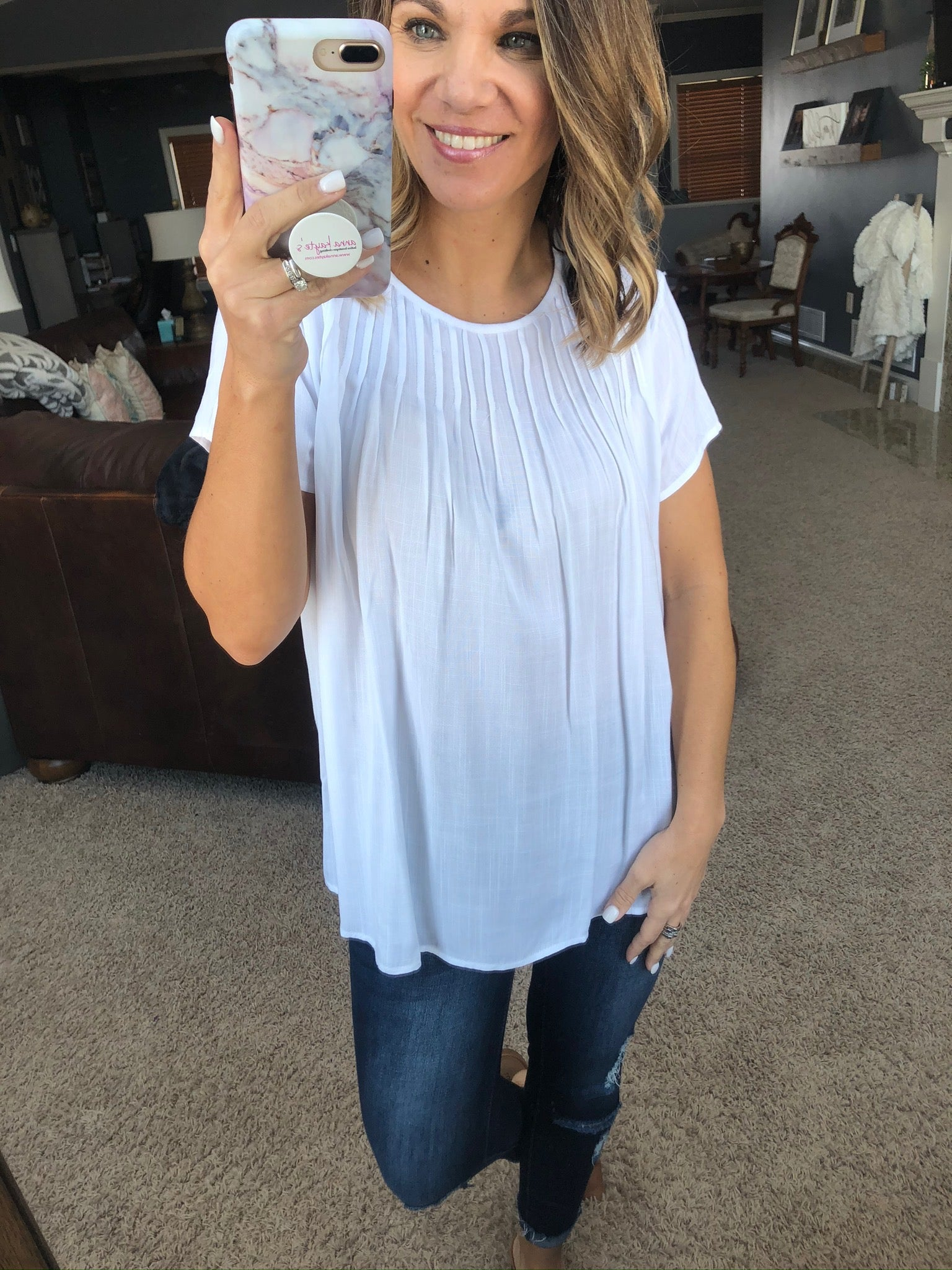 Swing Of Things Ivory Tee With Pleated Neckline
