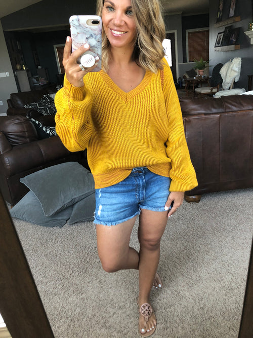 Press Rewind Vneck Knit Sweater- Mustard