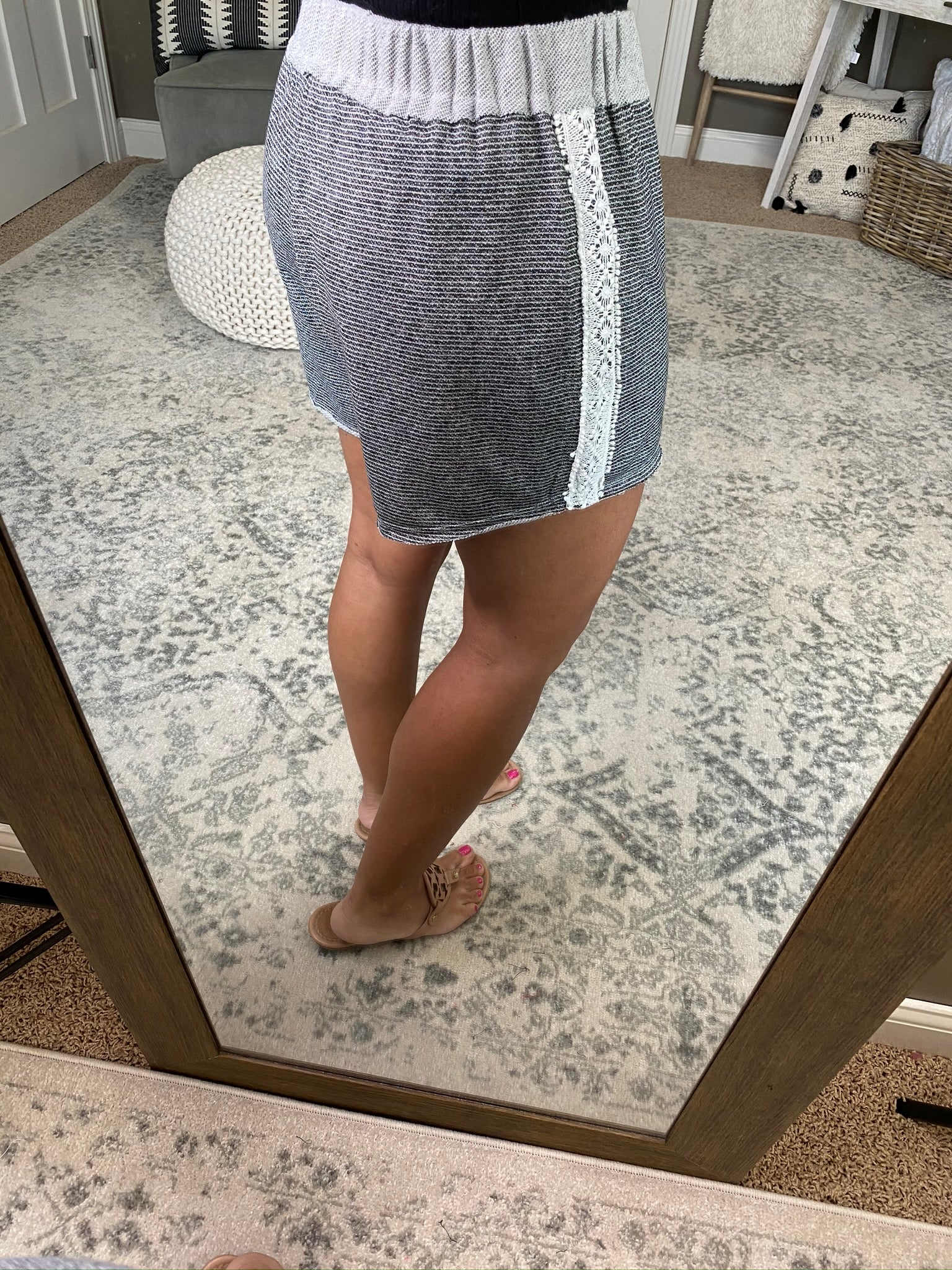 In The Mood To Lounge Grey Striped Shorts with Crochet Trim