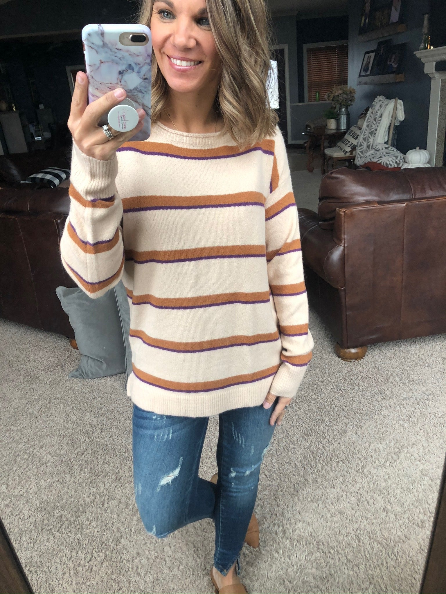 There She Goes Tan Sweater with Purple and Brown Stripes