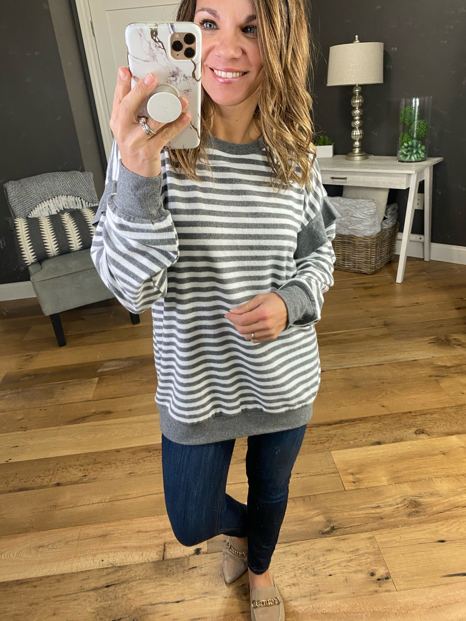 So Close Now Charcoal & Ivory Striped Long Sleeve with Ruffle Detail