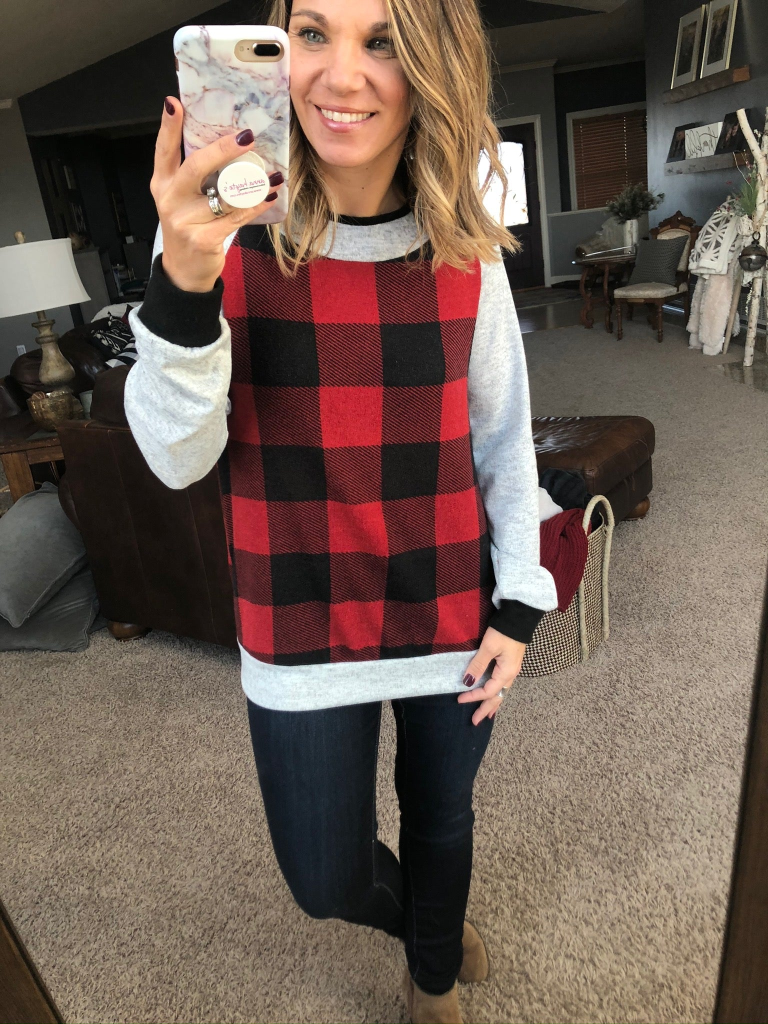 Hope You're Happy Now Buffalo Plaid Crew Neck Long Sleeve with Grey and Black Details