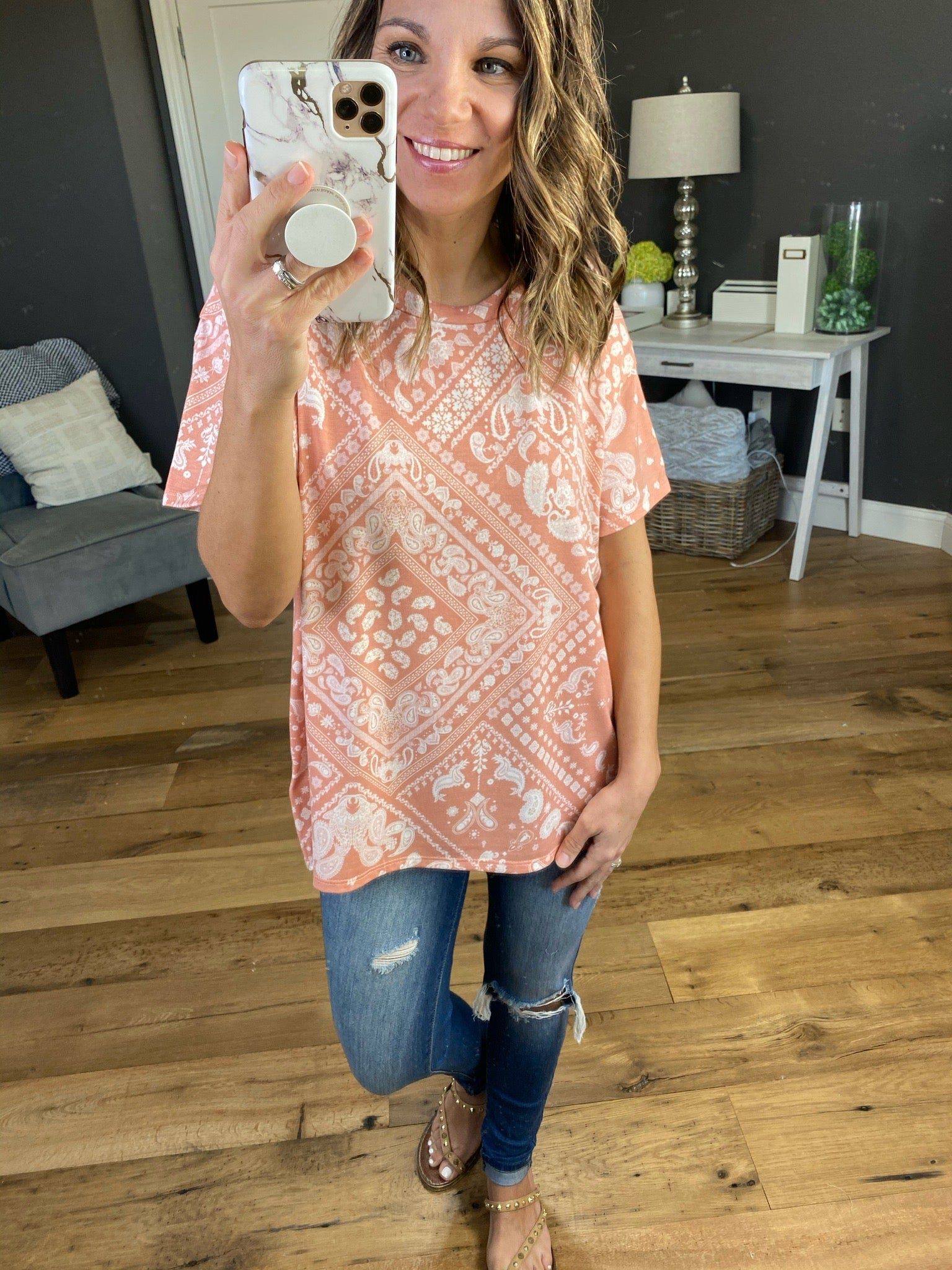 Summer Breeze Peach Print Tee