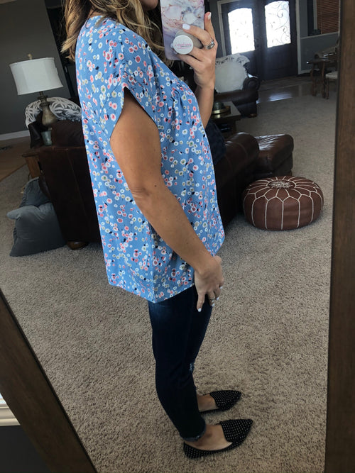 One Heart Blue Floral Tee With Cuffed Drop Shoulder
